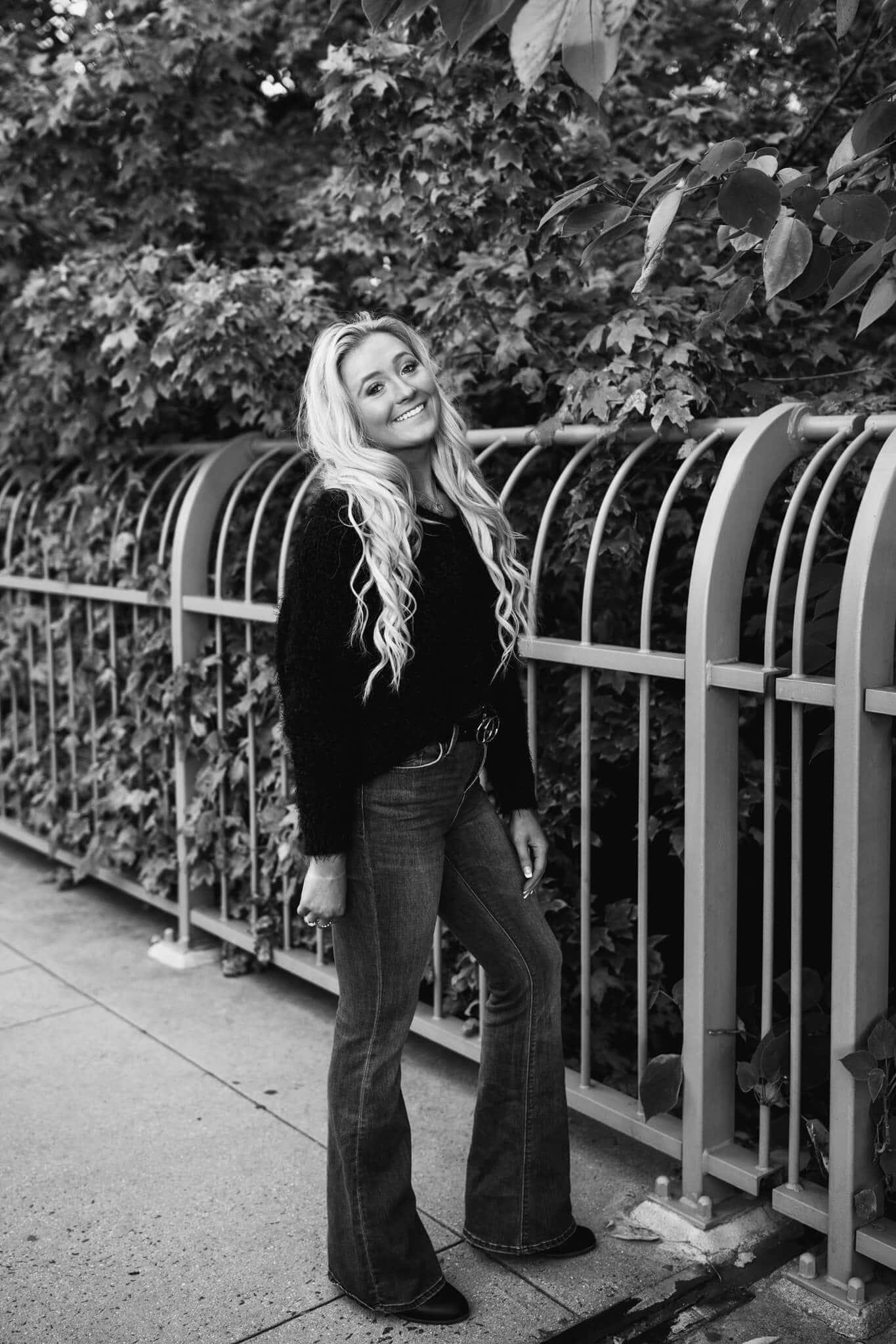 high school senior girl in black and white