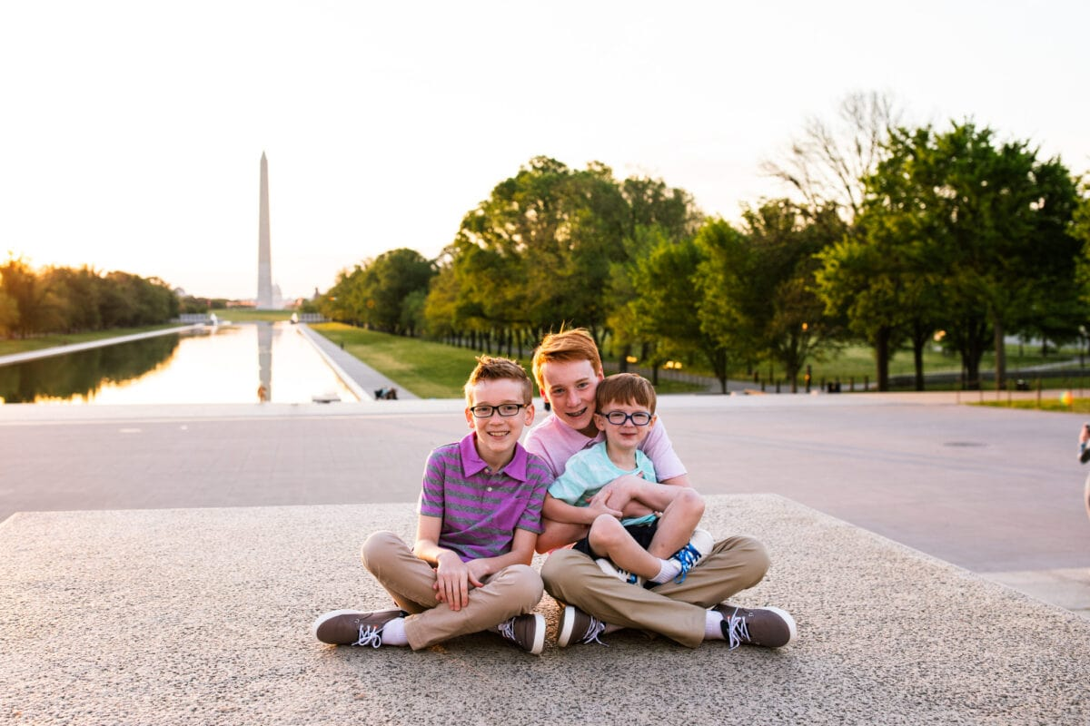 3 brothers together near Reflecting Pool